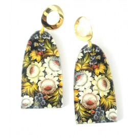 Black Earrings, Floral