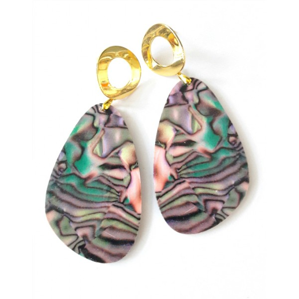 Green Earrings, Abalone Pattern