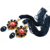 Black Red Earrings, Long