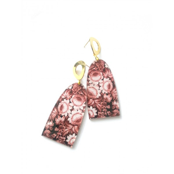 Mauve Earrings, Floral