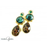 Emerald earring, Multicolor Statement earrings, Tortoise earrigns, post dangle earrings, green, oversized, teardrop, celebrity inspired