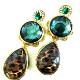 Emerald Earring, Multicolor Statement Earrings, Tortoise Earrings,