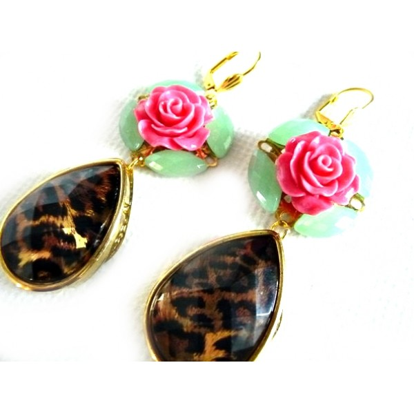 Multicolor Statement earrings, Tortoise earrings,  green mint earrings, oversized, flower, teardrop, rose, pink,  gold,