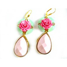 Pink Statement earrings, green mint earrings, oversized earrings, flower, teardrop, rose, pink, pastel pink, gold,