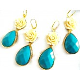 Multicolor Statement earrings, oversized earrings, flower, teardrop, rose, teal, beige, dangle, romantic,gold, princess