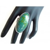 Green Agate Ring, Cabochon Ring, Big Gemstone Ring,