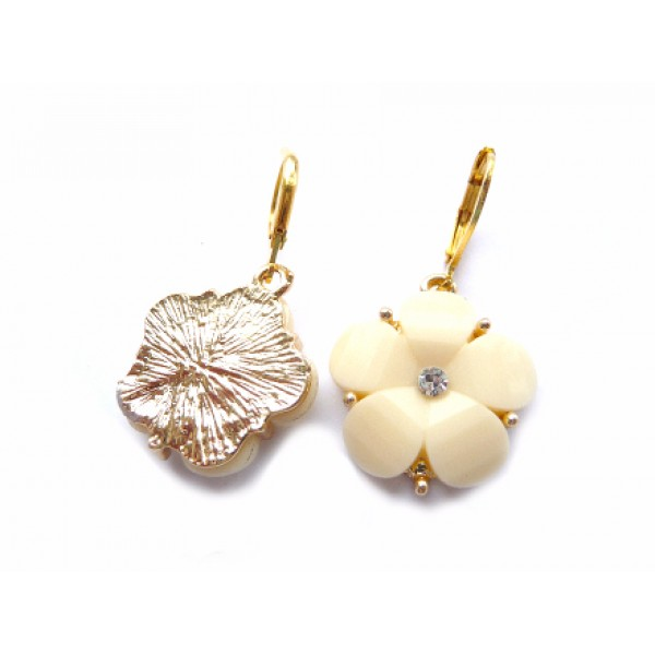 Wedding Earrings, Beige Wedding, Beige Earrings, Gold Beige Earrings, Floral Earrings, Floral Wedding,