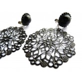 Black Round Earrings, Statement Earrings,