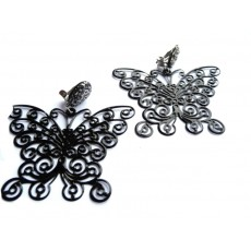 Black Earrings, Big Black Earrings, Butterfly Earrings, Black Butterfly,