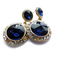 Crystal Earrings, Blue Earrings, Wedding Earrings, Post, Dangle, Round, Double, Gold Plated, Blue Gold Earrings,