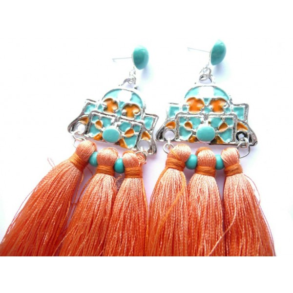 Tassel Earrings, Turquoise Earrings, Turquoise Orange Earrings,