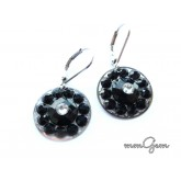 Black Earrings, Small Black Earrings, Round Black Earrings, Black Round Earrings, Black Resin Earrings,