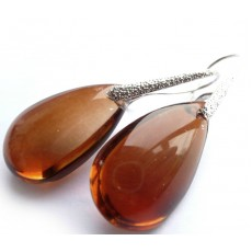 Glass Earrings, Teardrop, Amber, Brown, Dangle,