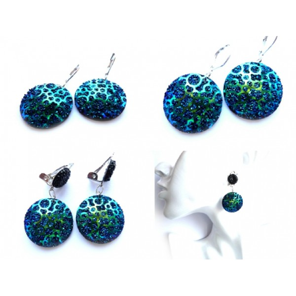 Blue Earrings, Green Earrings, Round Earrings, Blue Green Earrings, Green Blue Earrings, Peacock Blue, Earrings, Peacock Green, Druzy Earrings, Resin Earrings, Deep Green Earrings, Deep Blue Earrings, Resin Earrings, Blue Silver, Green Silver, Gift Idea,