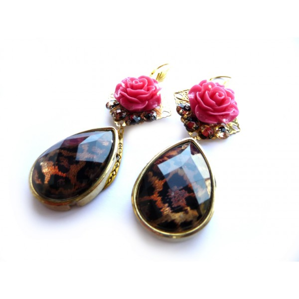 Multicolor Statement earrings, Tortoise errigns, post dangle earrings, pink, rose, flower, brown, oversized, teardrop,