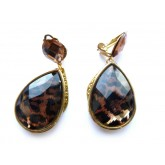 Clip On Earrings, Brown Clips, Tortoise Earrings, Animal Print, Brown Dangle Earrings, Brown Earrings, Leopard Earrings,