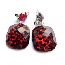 Clip On Earrings, Red Earrings, Red Black Earrings, Geometric Earrings, Clip Dangle Earrings,