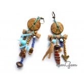 Blue Brown Ethnic Earrings, Boho Earrings, Boho Rustic Earrings, Rustic Earrings, Tribe Earrings,