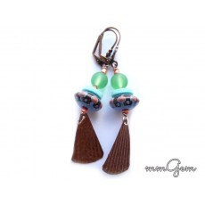 Blue Copper Earrings, Blue Green Earrings, Blue Earrings, Copper Earrings, Blue Brown Earrings,