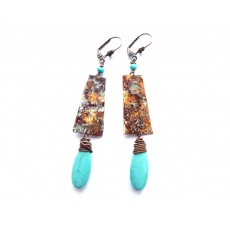 Rustic Turquoise Earrings, Enameled Bar Earrings, Blue Brown Earrings,