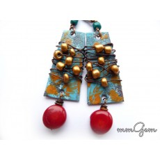 Gemstone Earrings, Boho Rustic Earrings, Coral Stone, Red Earrings, Ethnic Earrings, Enameled Earrings,