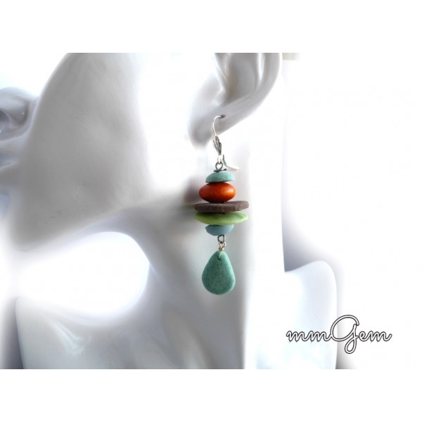 Stacked Boho Earrings, Turquoise Earrings, Brown Earrings, Green Earrings, Brown Green Blue,