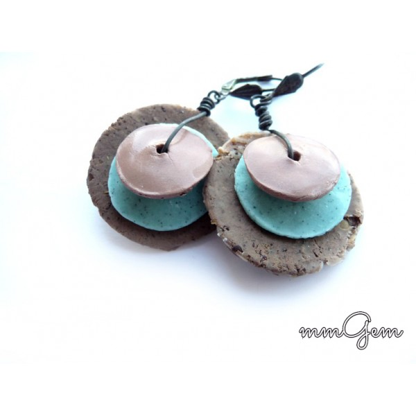 Boho Earrings, Primitive Earrings, Ethnic Earrings, Round Boho Earrings, Big Boho Earrings, Turquoise Earrings, Brown Earrings, Turquoise Brown, Round