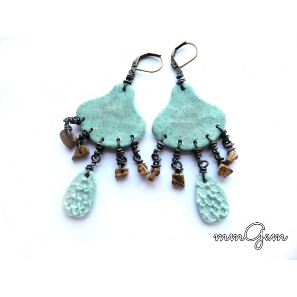 Ethnic Earrings, Primitive Earrings, Boho Earrings, Turquoise Brown, Picture Jasper, Turquoise Jasper,