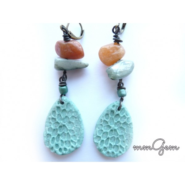 Ethnic Earrings, Primitive Earrings, Boho Earrings, Turquoise Earrings, Blue Earrings, Jasper Earrings, Honey Jasper, Mother of Pearl, Rustic Earrings,
