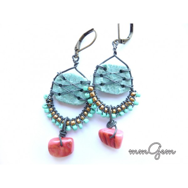 Ethnic Earrings, Primitive Earrings, Boho Earrings, Turquoise Pink, Blue Pink Earrings, Blue Pink Green Gold, Rustic Earrings, Tribe Earrings,