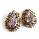 Brown Gold Earrings, Desert Sand, Brown Teardrops,