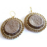 Brown Gold Earrings, Desert Sand, Brown Round,