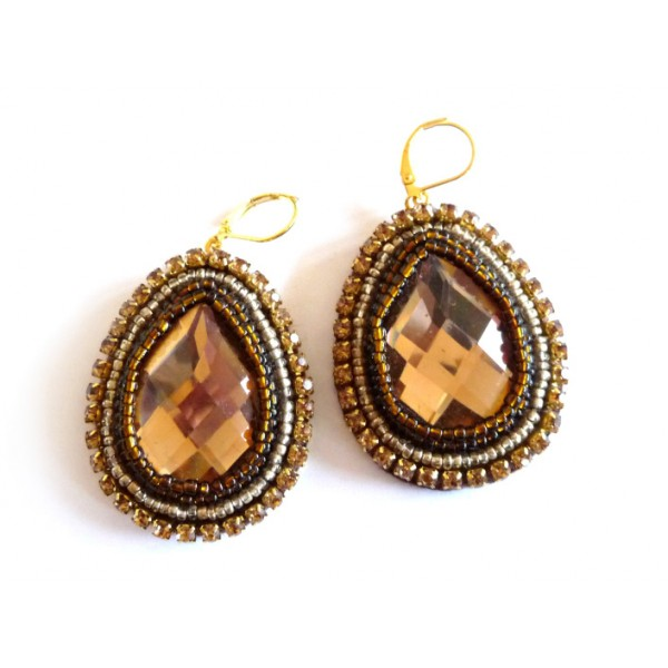 Teardrop Earrings, Brown Gold Earrings, Burnt Sugar,