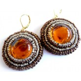 Brown Amber Earrings, Cinnamon, Round, Elegant, Boho Chic,