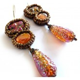 Tough Love, Drop Earrings, Druzy, Brown, Boho Chic,