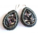 Lacy Earrings, Black Lace Earrings, Black Teardrop,