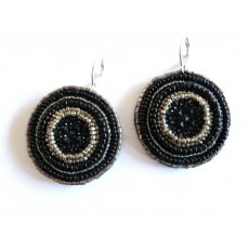 Black Earrings, Black Sun Earrings, Black Round,