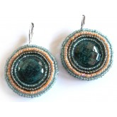 Sunny Morning Earrings, Blue Round, Elegant, Boho Chic,