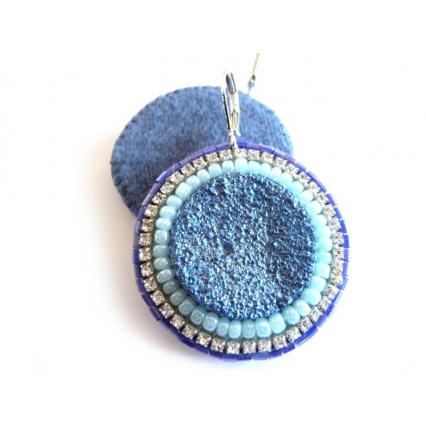 Lagoon, Blue Druzy Earrings, Elegant, Boho Chic,