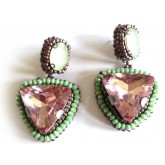 Pink Earrings, Jungle Queen, Post Dangle, Drop Earrings,