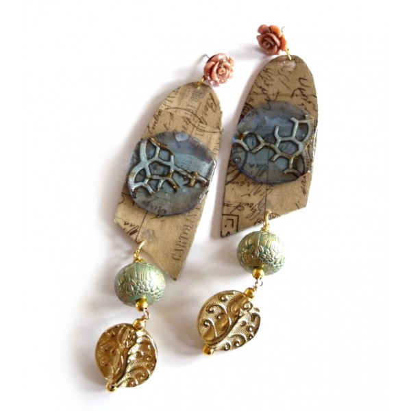 Sweet Life Earrings, Turquoise Brown Blue Earrings, Writings,