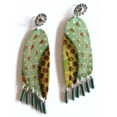 Sweet Life Earrings, Turquoise Brown Green Earrings, Statement,