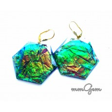 Dichroic Earrings, Big Earrings, Resin Earrings, Emerald, Blue Green Gold, Big Geometric, Hexagon Earrings,