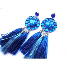 Blue Tassel Earrings, Fringe Earrings, Blue Earrings, Flower Tassel Earrings, Statement earrings, Tassel earrings, Fringe earrings,