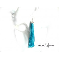 Fringe Earrings, Tassel Earrings, Long Tassel Earrings, Fringe Earrings, Blue Earrings, Long earrings, Thread Earrings,