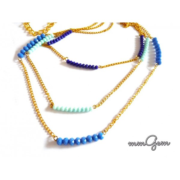 Layered Swarovski elements Necklace, 3 Layer Necklace