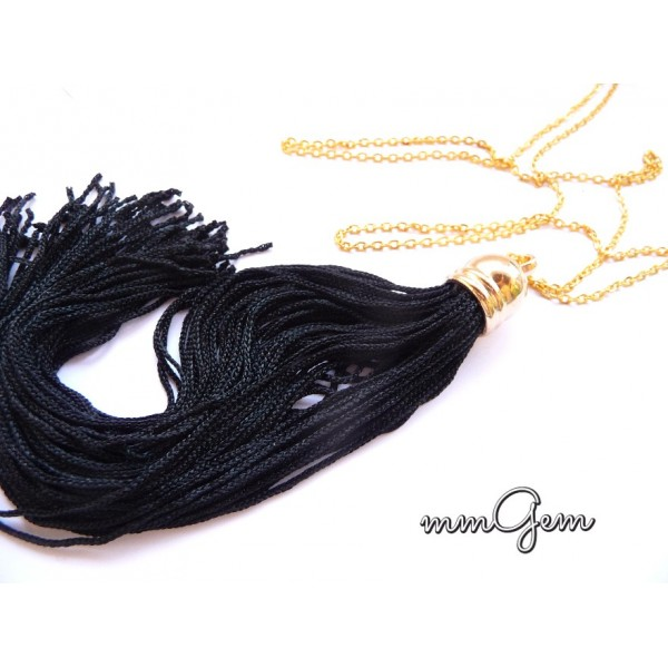 Fringe necklace, tassel necklace, black tassel necklace, black fringe necklace, long fringe necklace, long tassel necklace, black gold