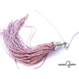 Long Tassel Necklace, Pink Necklace