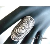 Long Silver Ring, Long Aged Ring,