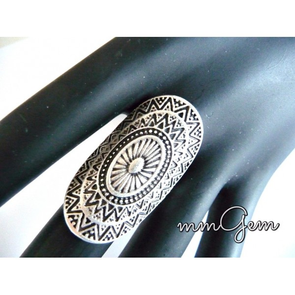 Long Silver Ring, Long Aged Ring,